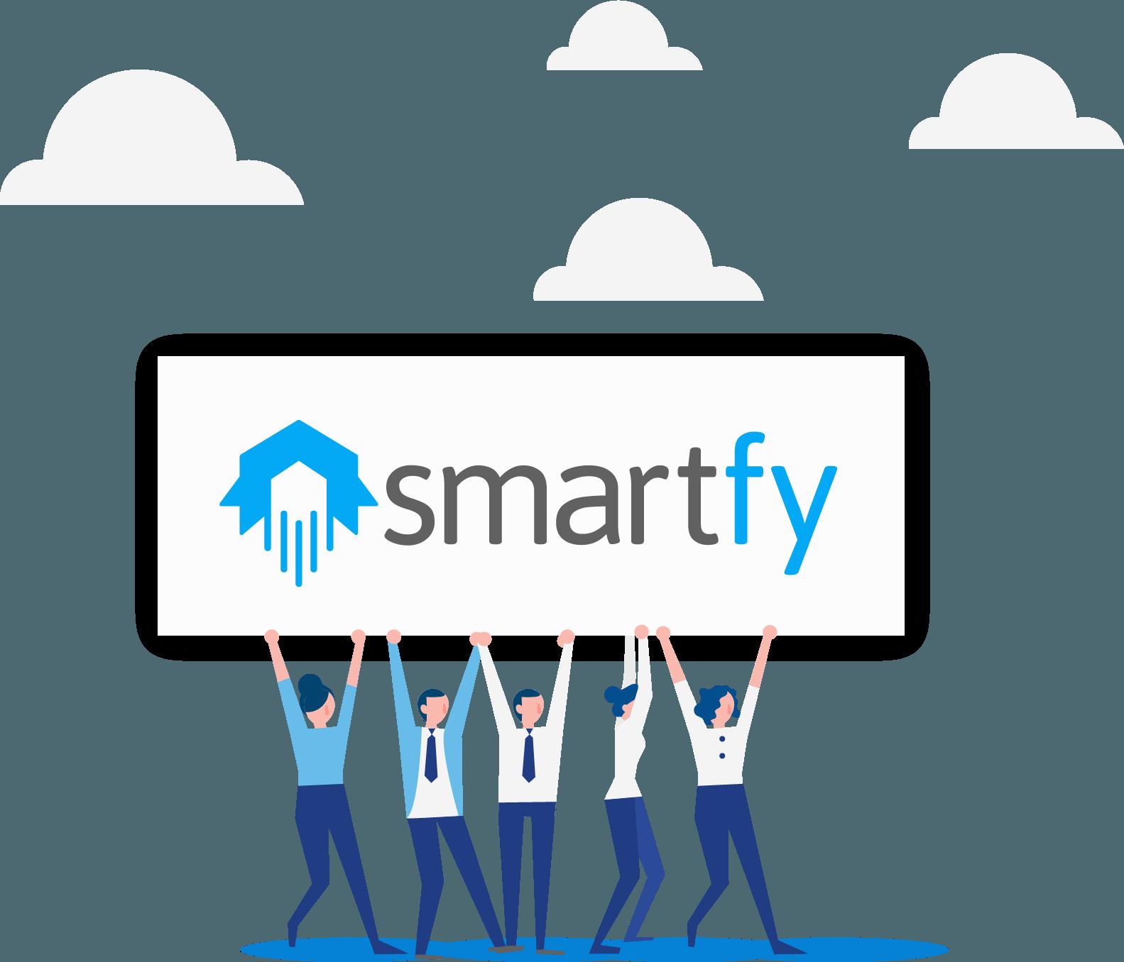 Ilustração de pessoas segurando um banner com Smartfy